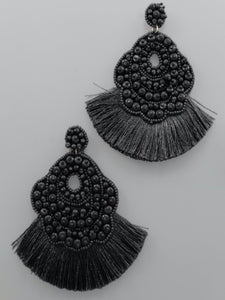 Black Beaded Oval & Tassel Earrings