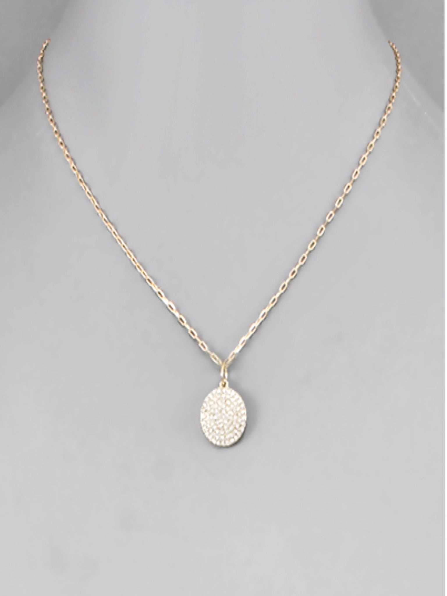 Crystal Disc Necklace in Gold