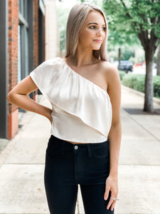 One-Shoulder Ruffled Satin - Vintage Cotton Boutique