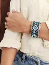 Load image into Gallery viewer, Handmade Beaded Bracelet in shades of Blue & White