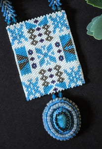 Handcrafted Blue & White Phulkari design with Jade Necklace