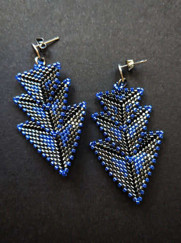 Blue Black Woven Stacked Arrow Earrings