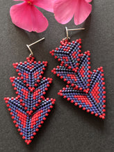 Load image into Gallery viewer, Multicolored Woven Stacked Arrow Earrings