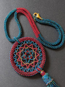 Blue and Red Dream-Catcher Necklace