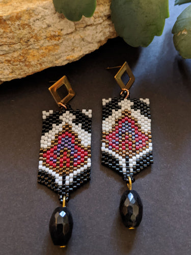 Handcrafted Black & Red Floral Panel Earrings