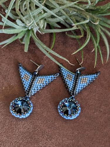 Handmade Beaded Earrings in Blue & Grey Swarovski crystal
