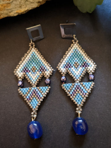 Handmade Beaded Earrings - Blue & White