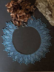 Handmade Beaded Necklace in shades of Blue - Collar Necklace