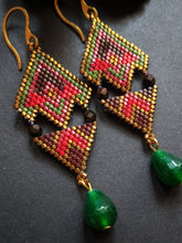 Load image into Gallery viewer, Handmade Beaded Earrings in Red & Brown with green agate drops