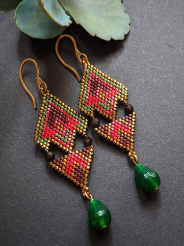 Handmade Beaded Earrings in Red & Brown with green agate drops