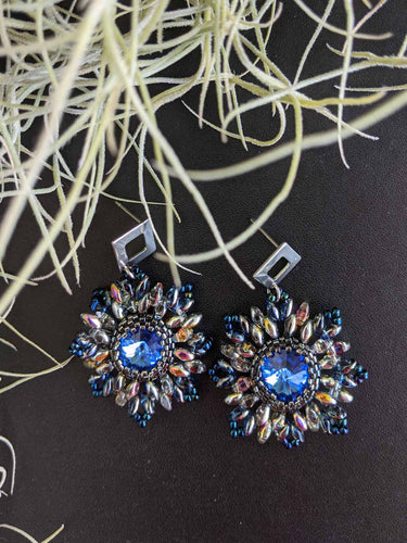 Handmade Beaded Earrings - Blue Swarovski Flowers