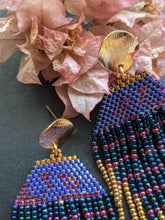 Load image into Gallery viewer, Handmade Beaded Earrings - Blue Fringe Earrings