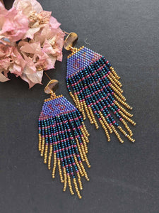 Handmade Beaded Earrings - Blue Fringe Earrings