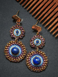 Handmade Beaded Earrings - Blue & Golden Chakri Earrings