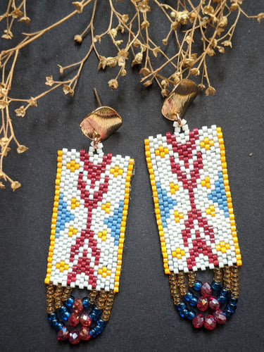 Handmade Beaded Earrings - Offwhite & Red Ikat