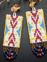 Load image into Gallery viewer, Handmade Beaded Earrings - Offwhite & Red Ikat