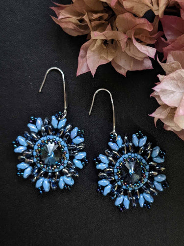 Sparkle & Shine Handmade Beaded Earrings -Montana Blue Swarovski Flowers