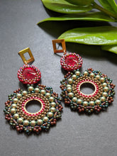 Load image into Gallery viewer, Handcrafted Beaded Earrings with Swarovski Crystals & Pearls