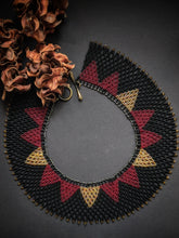 Load image into Gallery viewer, Handmade Beaded Necklace in Black & Red - Collar Necklace