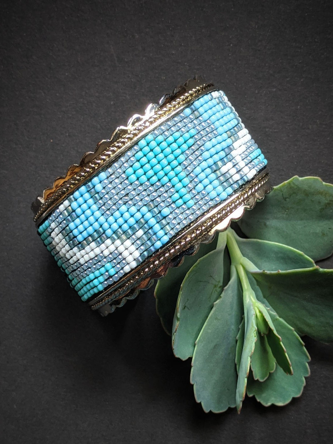 Handmade Beaded Bracelet in shades of Blue & White