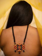 Load image into Gallery viewer, Handmade Beaded Necklace in Black & Red 3 panel Asymmetrical