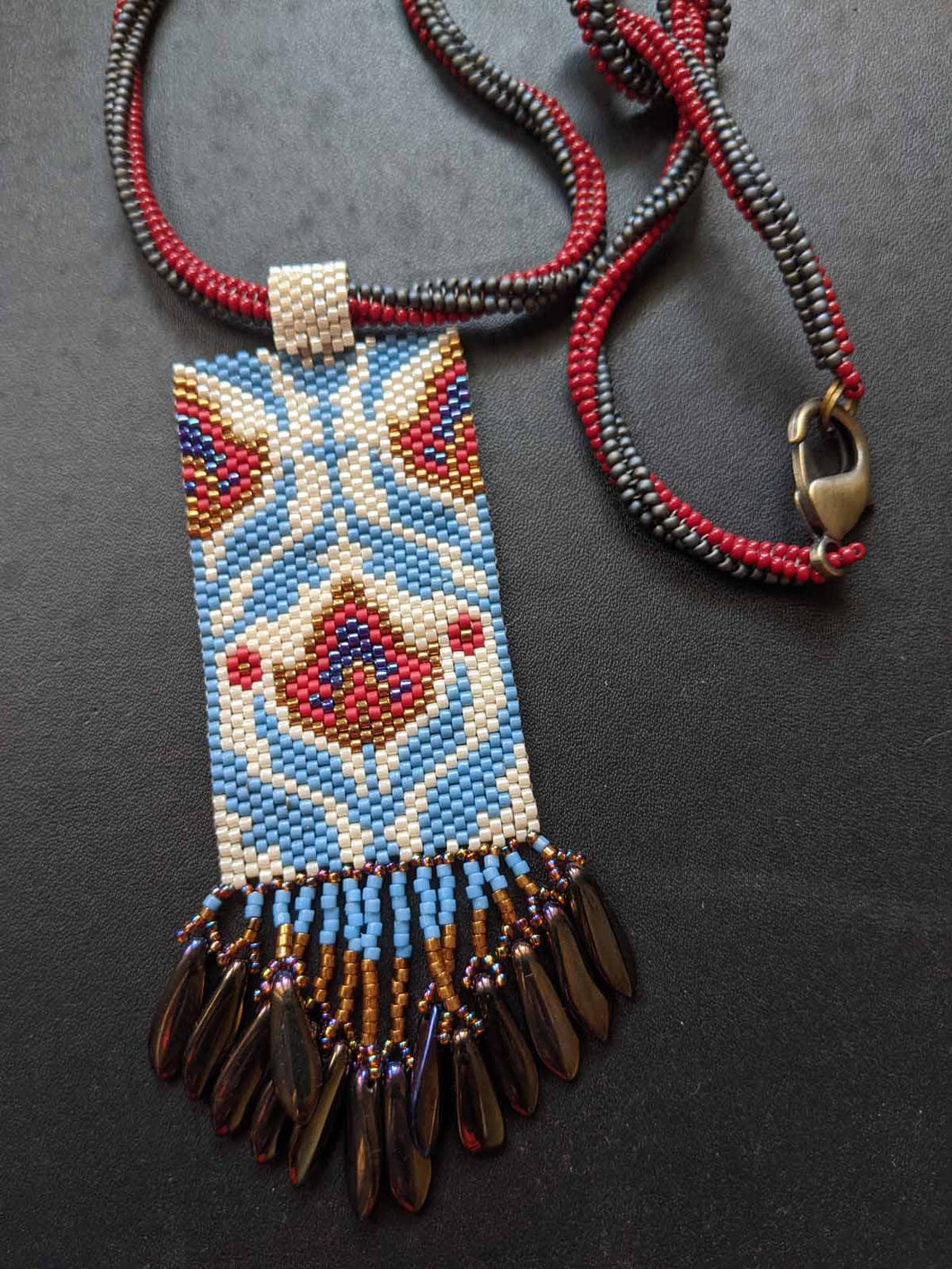 Handmade Beaded Necklace - Blue & Red Floral Fringe