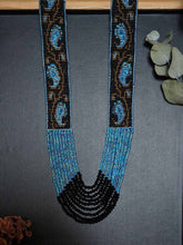 Load image into Gallery viewer, Handmade Beaded Statement Necklace -Blue gold MangoMotif
