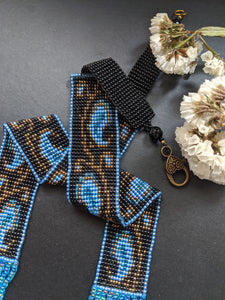 Handmade Beaded Statement Necklace -Blue gold MangoMotif