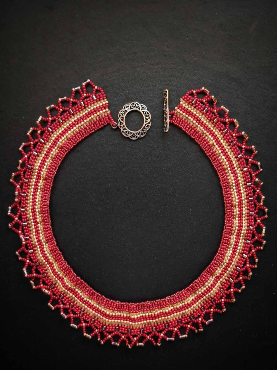 Handmade Beaded Necklace - Red & Gold Woven Collar