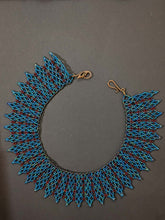Load image into Gallery viewer, Handmade Beaded Necklace in Teal & Maroon