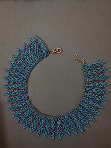 Handmade Beaded Necklace in Teal & Maroon