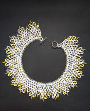 Load image into Gallery viewer, Handmade Beaded Necklace in shades of White & Yellow Gold - Collar Necklace