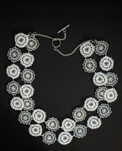 Load image into Gallery viewer, White & Grey Handcrafted Multi-Stranded Floral Disc Necklace