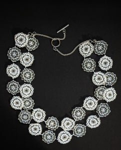 White & Grey Handcrafted Multi-Stranded Floral Disc Necklace