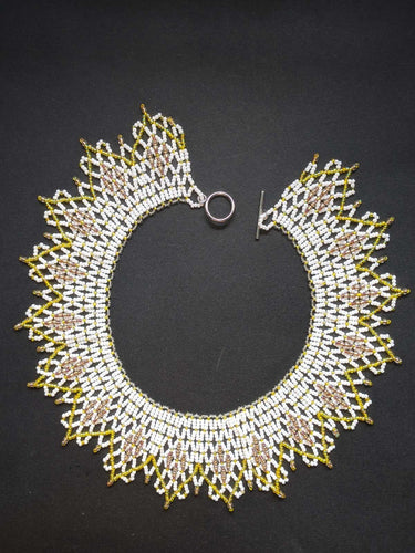 Handmade Beaded Necklace in shades of White & Yellow Gold - Collar Necklace