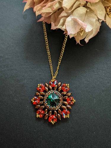 Handmade Beaded Necklace - Picasso Red & Emerald green