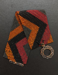 Handmade Beaded bracelet - Multicolored Panel Cuff