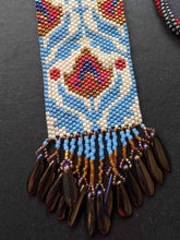Load image into Gallery viewer, Handmade Beaded Necklace - Blue & Red Floral Fringe
