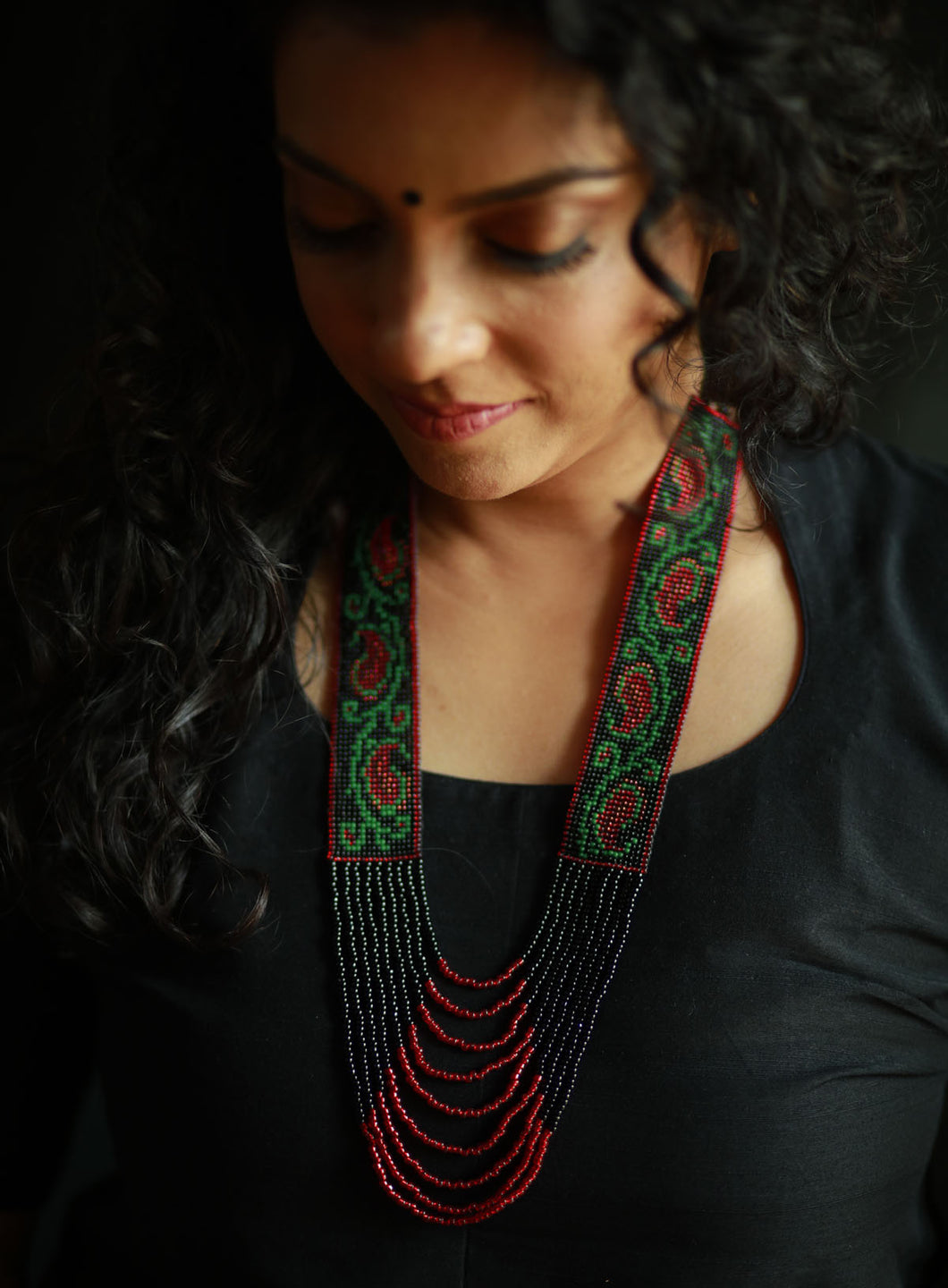 Mango Motif Handcrafted Woven Statement Panel Necklace