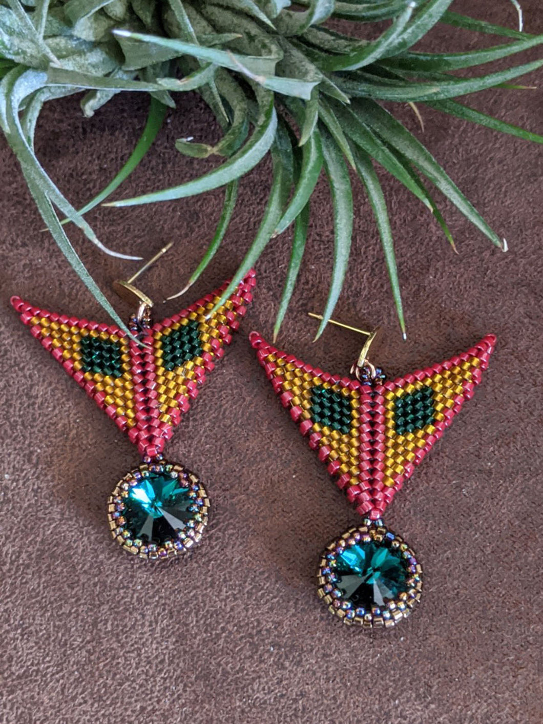 Handmade Beaded Earrings in Maroon & Emerald
