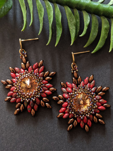 Dramatic Picasso Red Swarovski Crystal Woven Flower Earrings