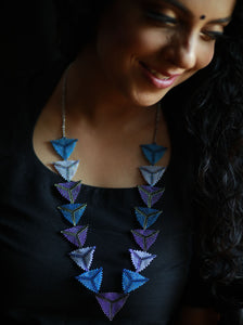 Must Have Blue Handcrafted Bead Woven Triangle Necklace