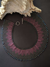 Load image into Gallery viewer, Handcrafted Pink & Grey Woven Collar Necklace