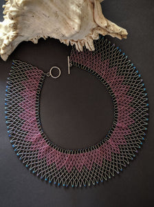 Handcrafted Pink & Grey Woven Collar Necklace