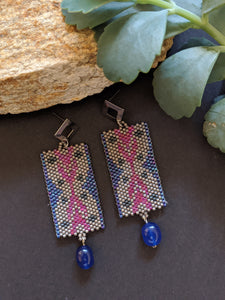 Handcrafted Grey & Magenta bead woven IKAT Earrings