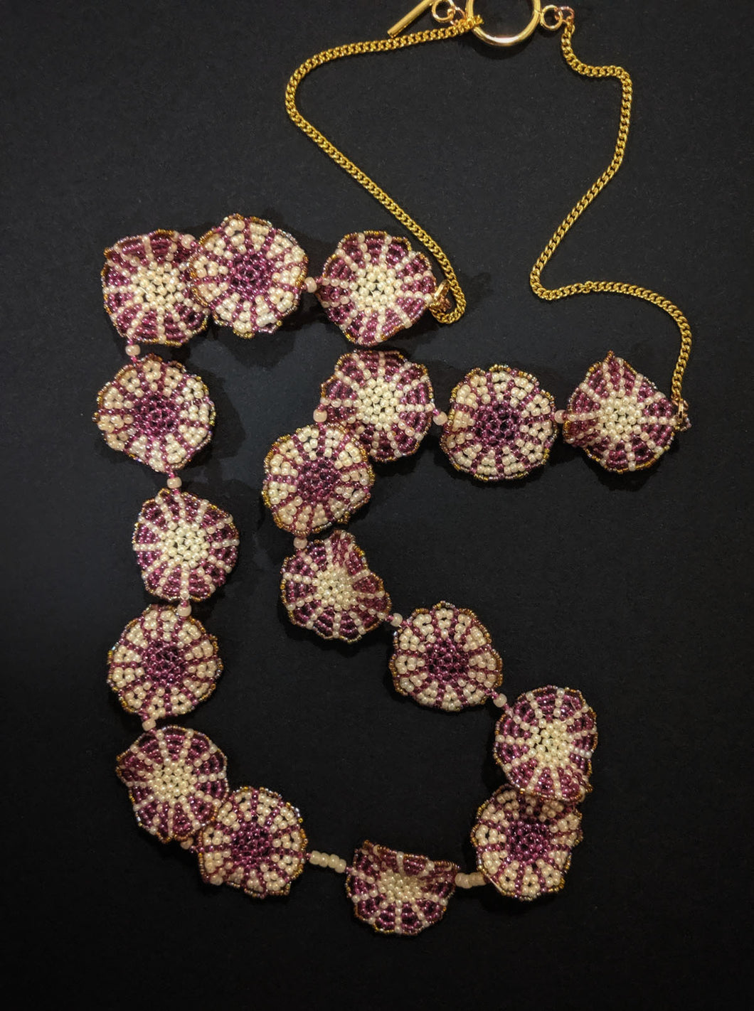 Handmade Beaded Necklace in Magenta & Cream Single Strand Floral Disc