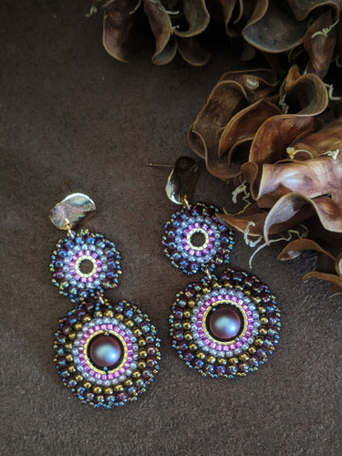 Handcrafted Pink & Purple Chakri Earrings