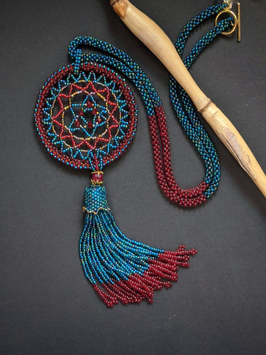 Red & Teal Dream-Catcher Necklace