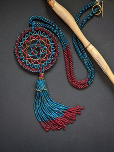 Handmade Beaded Necklace - Teal Blue and Red