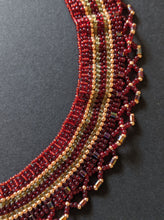 Load image into Gallery viewer, Handmade Beaded Necklace - Red & Gold Woven Collar